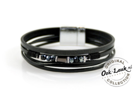 Sierlijke zwarte armband met decoratie