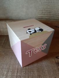 Houten spaarpot met naam, panda