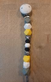 Speenkoord zebra geel/grijs