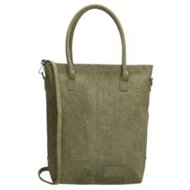Kartel bag met rits shopper olijfgroen, ZEBRA