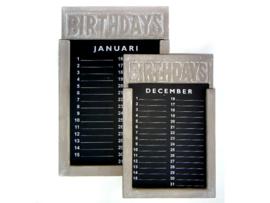 Houten verjaardagskalender  35x22cm, taupe
