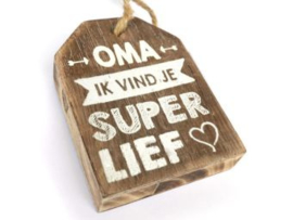 Houten label Oma, taupe
