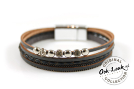 Luxe armband donkergrijs