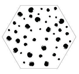 Muurhexagon dots wit, Label-R