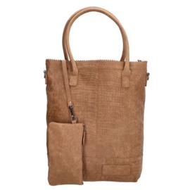 Kartel bag met rits shopper camel, ZEBRA