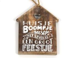 Houten label Huisje Boompje Beestje..., naturel