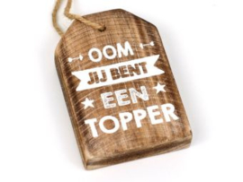 Houten label Oom, taupe