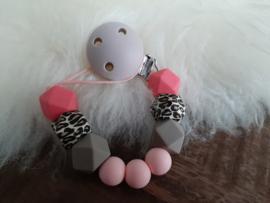 Speenkoord panter roze/ taupe