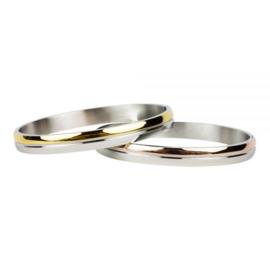 Armband Bi Color zilver/goud M 6 mm/ 58 mm