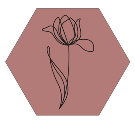Muurhexagon tulp donkerroze, Label-R