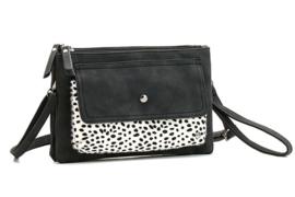 Chicago schoudertasje en clutch, zwart/wit