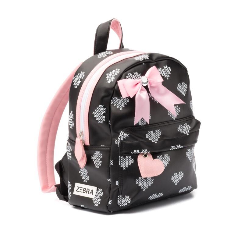 Rugzak crossed hearts black & pink S, Zebra