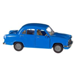 Blauwe retro auto Ambassador