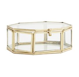 Hexagon glazen box goud, Madam Stoltz