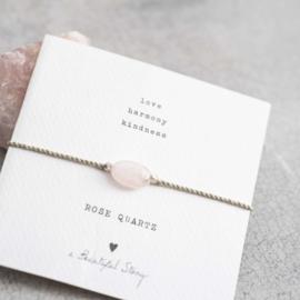 Armband met edelsteen; Rose quartz, A Beautiful story