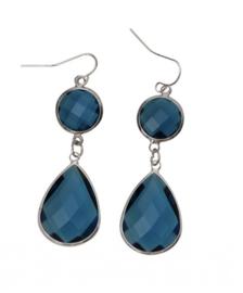 Oorhangers, zilverkleurig, Chandeliers Night Blue XL