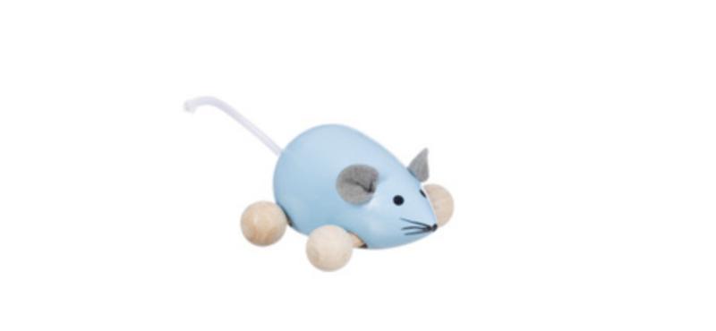 Rolfiguur houten muis, blauw