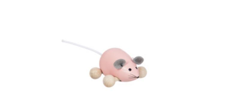 Rolfiguur houten muis, roze