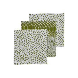 Meyco Baby Hydrofiele Monddoekjes 3pack Snake/Cheetah - Avocado