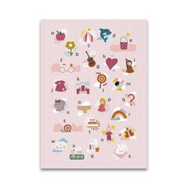 Maan Amsterdam Mijn alfabetposter (50x70) - roze