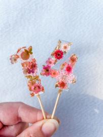 Taarttopper met droogbloemen- dubbele cijfers