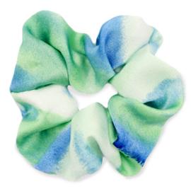 Scrunchies haarelastiek silky Green-blue