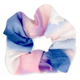 Scrunchies haarelastiek silky Pink-blue