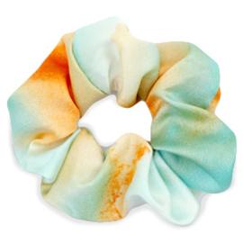 Scrunchies haarelastiek silky Turquoise-orange