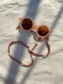 Zonnebril koord bloemen - bruin