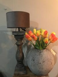 Houten balusterlamp grijs