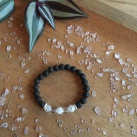 Bergkristal (+zilver) armband kids