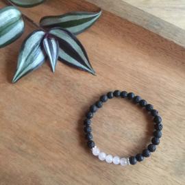 Rozenkwarts + zilver armband 6mm