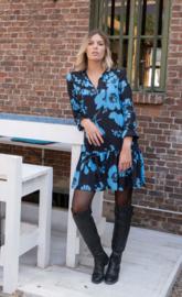 kort kleedje  jana print flower turquoise