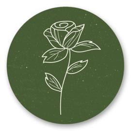 Bloem mosgroen | 10 stickers