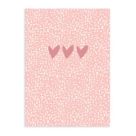 Schriftje | Hearts roze | A6