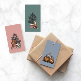 Minikaart | Kerst bosdieren | 3 stuks