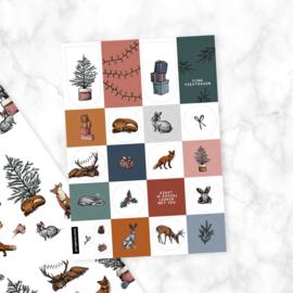Stickervel | Kerst bosdieren