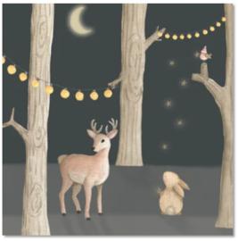 Kerstkaart | Hertje + konijn donker