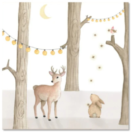 Kerstkaart | Hertje + konijn licht