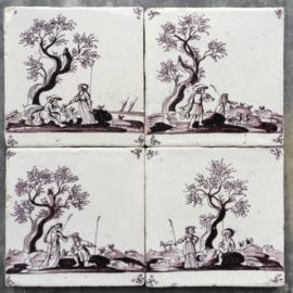 Vier romantische herder tegels