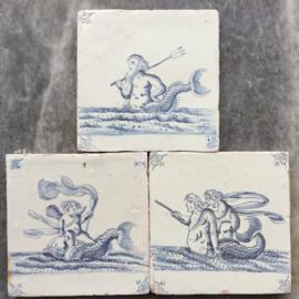 Een set van drie tegel met zeewezens