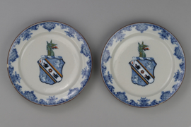 Two plates with coat of arms of Webster