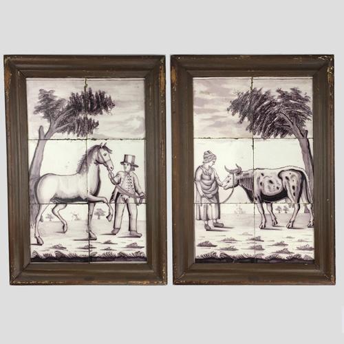 Twee tegeltableau's met paard en koe, boer en boerin