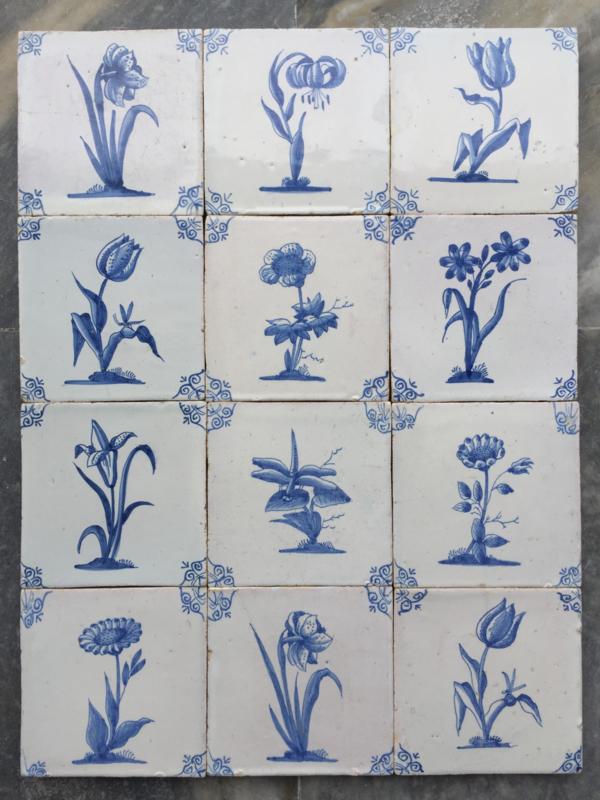 Amsterdam: Set van 12 tegels met bloemen