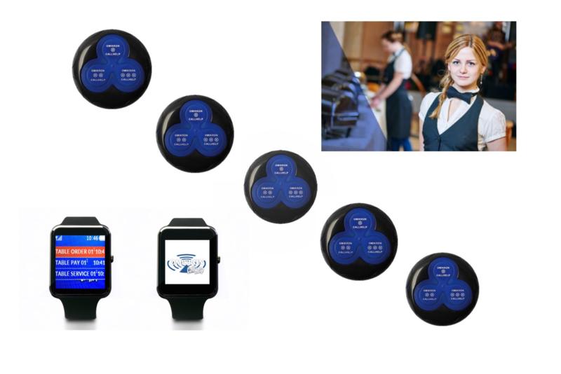 serviceoproepsysteem met 5 stuks button en 2 stuks 500RX  ontvanger.