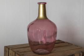 Roze vaas met gouden hals