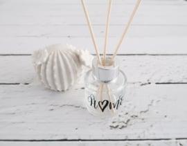 Glazen flesje diffuser 50 ml te personaliseren met zilverkleurige dop