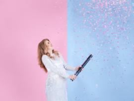 Confetti kanon 60 cm met roze confetti