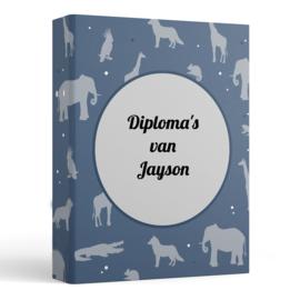 Bewaarmap ringband blauw dieren met insteekhoesjes en jouw eigen tekst