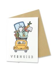 Wenskaart Verhuisd / Nieuwe woning met envelop